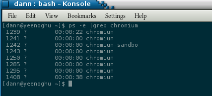 ps displaying only chromium processes